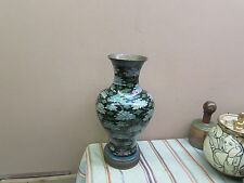 "Antique Chinese Cloisonne Vase Black Floral 14"" x 7"" x 4-1/2"""
