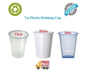 7oz Disposable Plastic Cups Clear White Party Birthday Vending 7oz Drinking Cups