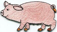 Pig sow hog swine boar farm livestock embroidered applique iron-on patch S-1302