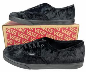 VANS Authentic Lo Pro Ox Sneaker Triple Black Velvet (8.5 Men) 10 Women