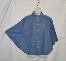 Joan Rivers Button Front Denim Cape Size S Medium Blue