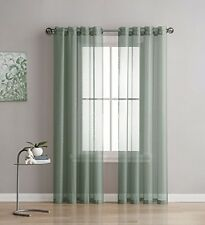 NEW - Linen Zone 2-Piece 54-Inch-by-84-Inch Grommet Sheer Panel Curtains, Sage