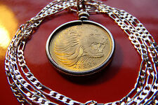 """Golden Brass Big African Lion Coin Pendant on a 30"""" 925 Sterling Silver Chain,"""
