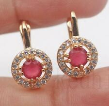 18K Gold Filled - Round Hollow Ruby Topaz Gemstone Wedding Lady Hoop Earrings