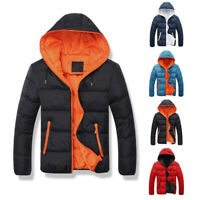 Men Padded Bubble Hooded Coat Puffer Quilted Jacket Warm Bomber Outwear NewPTJ