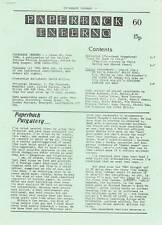 PAPERBACK INFERNO #60 - 1986 Science Fiction book review fanzine - Roger Zelazny