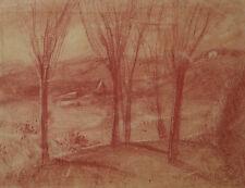 Paysage dessin ancien à la sanguine signé J. Grünenwald .Allemagne ?Autriche ?