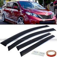 Fit 11-18 Toyota Sienna JDM Style Black Tinted Trim Window Visor Deflector