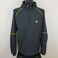 ADIDAS MENS GREY LIGHTWEIGHT 1/4 ZIP PULLOVER WATERPROOF JACKET SIZE LARGE L