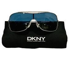 NWOT DKNY Donna Karan Blue Lens Silver Satin Frame Aviator Sunglasses DY5025