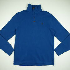 POLO RALPH LAUREN 1/4 Zip Cotton Sweater Pullover Men's S tagged M Blue w/ Brown