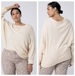 NWT Anthropologie 2X Damiana Pullover Dolman Sleeve Slouchy Fit Top Beige Size