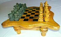 Rare Collectable Wooden Chess Set & Mini Chess Board Table With Pieces