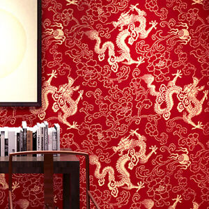 10M Chinese Red Dragon Flowers Waterproof Wallpaper Embossed Textured PVC Roll