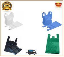 More details for vest carrier bags plastic polythene shopping bag blue white green black all size