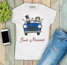 Womens T shirt Just Married Blue Wedding Car Newly Weds Couple Family Friend Tee
