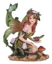 """5.25"""" Spring Fairy with Butterfly Statue Sculpture Fantasy Decor Figure"""