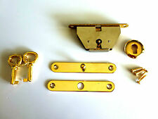 Jewellery wooden box lock, small jewelry full mortise lock key set gold color