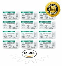 MedSci Global Suture Thread with Needle 12-Pack - Training Sutures Pkg. of 12