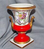 Vase Kratervase Royal KPM, Rot Gold Blumen, Ätzgoldrand, 15,5 cm