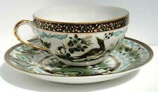 VTG Japanese Geisha Girl Lithopane Tea Cup & Saucer Hand Painted Birds China