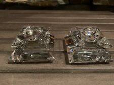 A Pair! Swarovski Small Square Candle Holder Crystal Beautiful