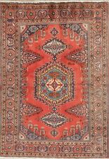 Geometric Tribal Viss Vintage Area Rug Hand-made Orange Red/Blue Oriental 5'x7'