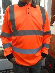 Hi Vis Long Sleeve Orange Polo Shirt Conforms to GO/RT 3279