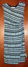 Ann Taylor Loft Black and White Lined Print Dress w/Side Runch and Stretch-XS*