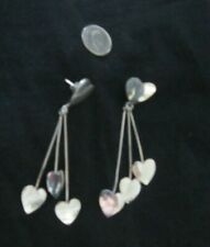 "Silver 925 ~ Vintage ~ Lg 3 1/8"" ~ Hanging Flat ""3 Hearts"" Earrings ~ 16.8 g"