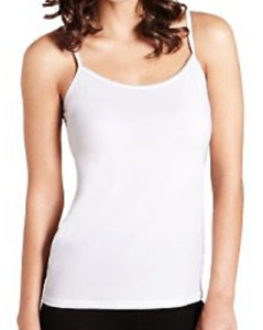 Ex M&S White Mesh Trim Strappy Stretch Slinky Camisole Vest Top UK 8
