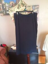 Navy Blue Rayon, Career A Line Skirt, No Size Tag, 29 Inches Long, 36 Inch Waist