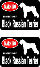 2 protected by Black Russian Terrier dog home window vinyl stickers