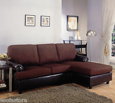 Modern Living Room Decor Sectional Sofa Set in Rich Brown Microfiber Sofa Set