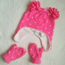 The Childrens Place Fleece Hat Mittens Set Polka Dot Pink Small 12-24 month A3