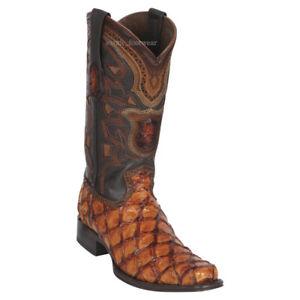 Men's Los Altos Genuine Pirarucu Fish Western Cowboy Boots Square Toe Wide Width