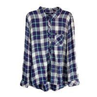 Rails Blue White Plaid Flannel Button Front Long Sleeve Shirt Tunic Women's L