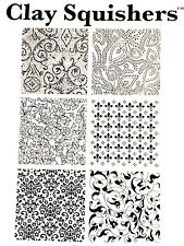 Rubber stamp Flourish by Clay Squishers, great for polymer clay