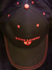 SWISS LEGEND BLACK/RED STITCHED COLLECTORS ADJUSTABLE BASEBALL HAT/CAP-STUNNING!