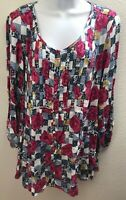 Top Blouse 2X womens plus size new nwt floral print style co casual black red