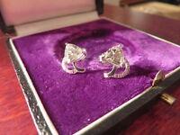 Wunderschöne 925 Silber Ohrringe Stecker Zirkonia Kubus Kissenschliff Vintage