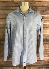 English Laundry Size 16.5 (34/35) Mens Button Up Dress Shirt Light Blue Striped