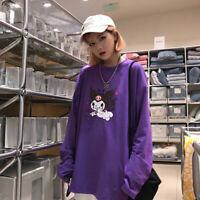 Women Harajuku Evil Demon Printed Long Sleeve T-shirts Loose Autumn Purple Top