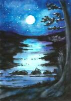 ACEO Moon stars river night landscape original painting watercolor art card