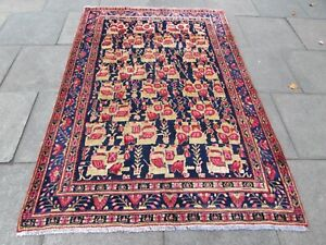 Vintage Hand Made Traditional Rug Oriental Wool Blue Pink Large Carpet 223x153cm