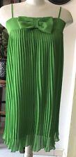 Twin Set SimonaApple Green All Around Pleateds Sleeveless Women Dress Sz Medium