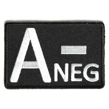 Embroidered A- Blood ID A Negative Blood Group Sew or Iron on Patch Biker Patch