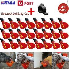 24 pcs Automatic Cups Water Feeder Drinker Chicken Waterer Poultry Chook Bird AU