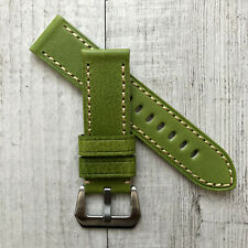 24mm Green Italian Leather Watch Strap Band Brush Silver Buckle FOR Panerai PAM