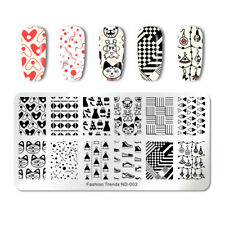 NICOLE DIARY Nail Stamp Plate Rectangle Fashion Nail Art Stamping Template Decor
